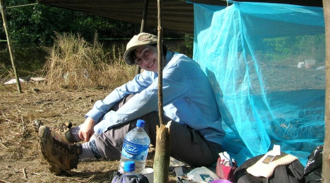 A campsite in the Amazon Rainforest in Peru